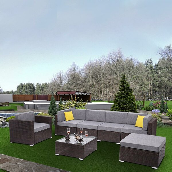 Anarsija 7 Piece Rattan Sectional Seating Group with Cushions by Latitude Run