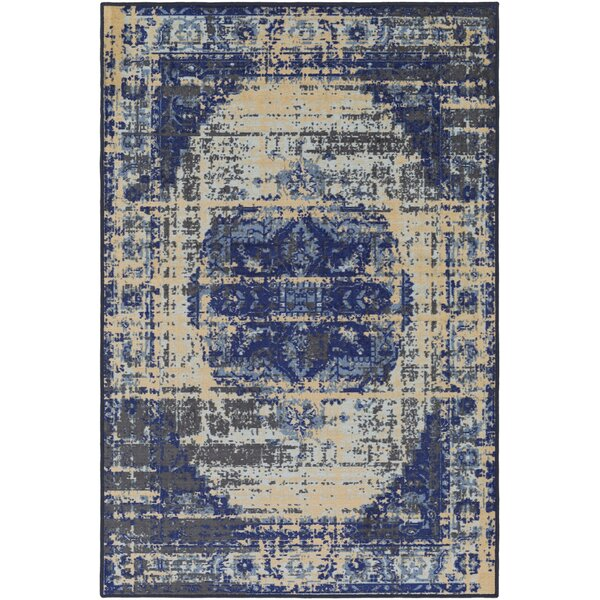 Prasad Beige/Blue Area Rug by Bungalow Rose