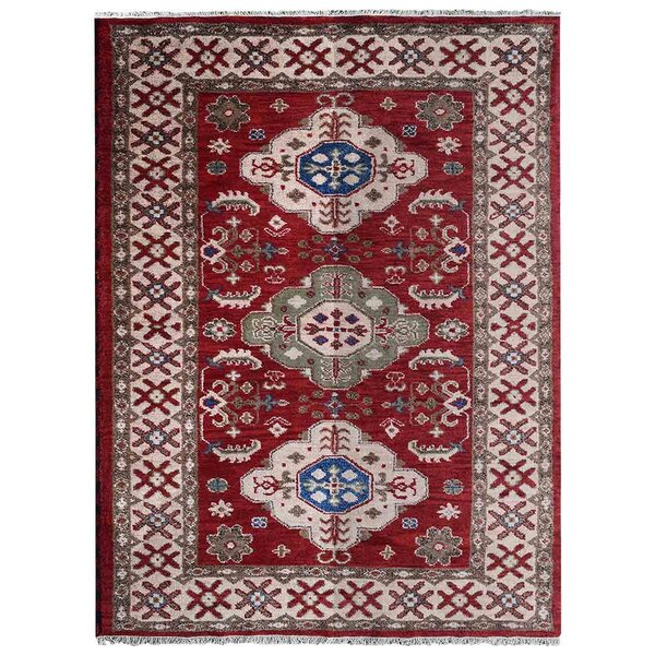 Rackers Hand-Knotted Red/Cream Area Rug by World Menagerie