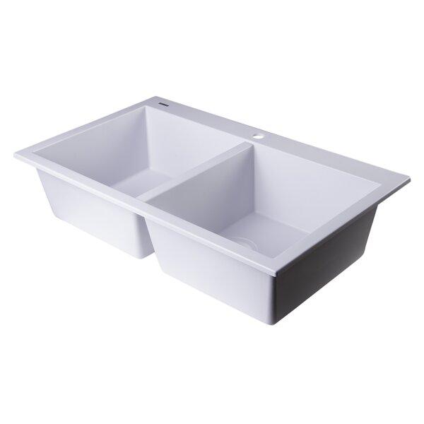34 L x 20 W Drop-In Double Bowl Kitchen Sink