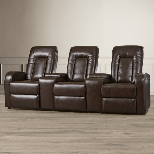 Free Shipping Leather Home Theater Group Seating Row Of 3
