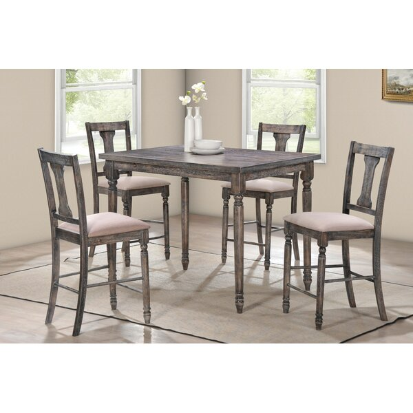 Douglass 5 Piece Counter Height Solid Wood Dining Set by Gracie Oaks