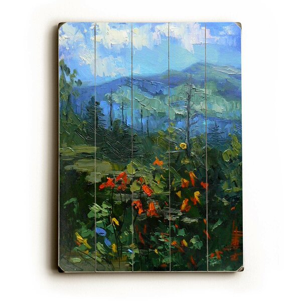 Floral Valley Painting Print on Wood by Charlton Home
