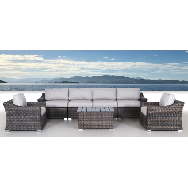 Dayse 7 Piece Rattan Sectional Seating Group with Cushions by Sol 72 Outdoor