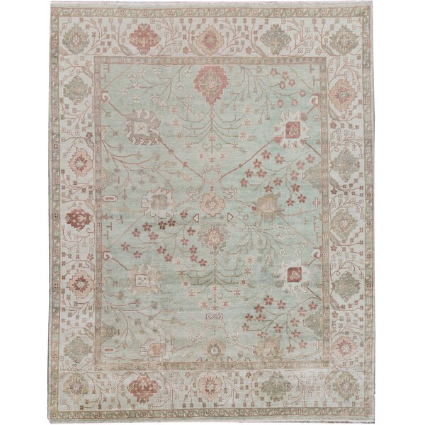 Oriental Hand-Knotted Wool Dark Green/Green Area Rug