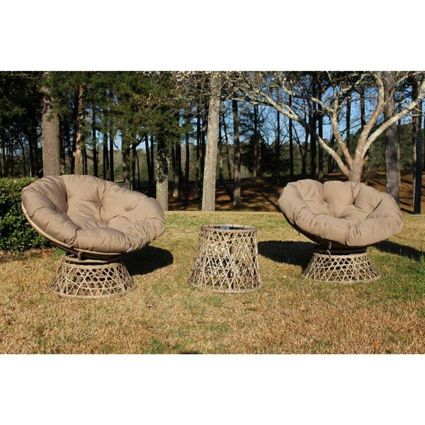 Morita 3 Piece Papasan Swivel Patio Chair with Cushions (Set of 3) by Bungalow Rose