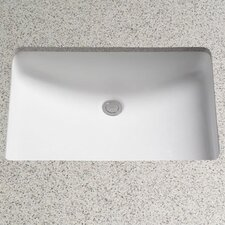 Rimless Rectangular Undermount Bathroom Sink with Overflow