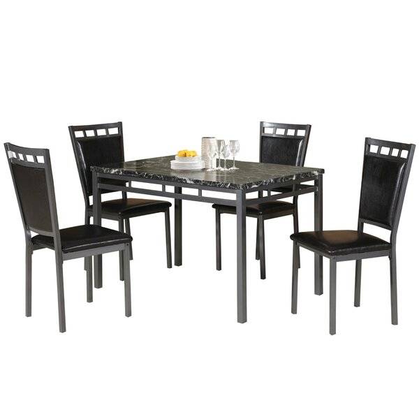 Chittening Marble And Metal 5 Piece Dining Set by Ebern Designs Ebern Designs