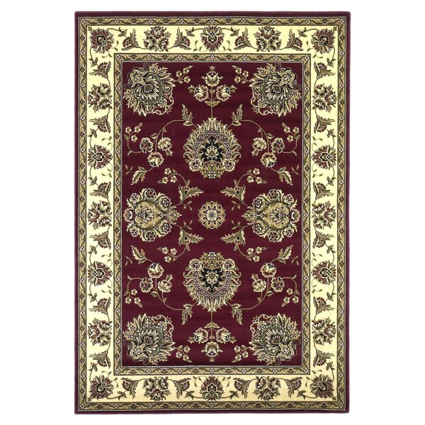 Bellville Red / Ivory Floral Area Rug by Charlton Home