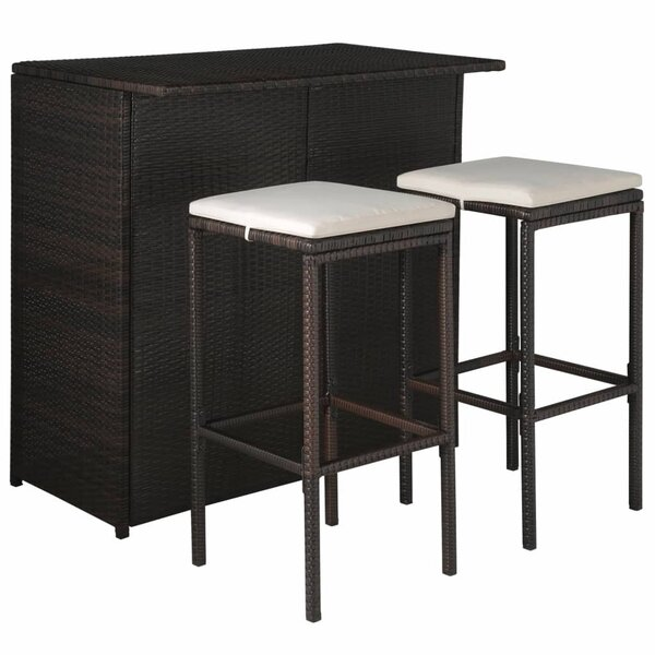 Wednesbury Outdoor 3 Piece Bar Height Dining Set with Cushions by Ivy Bronx