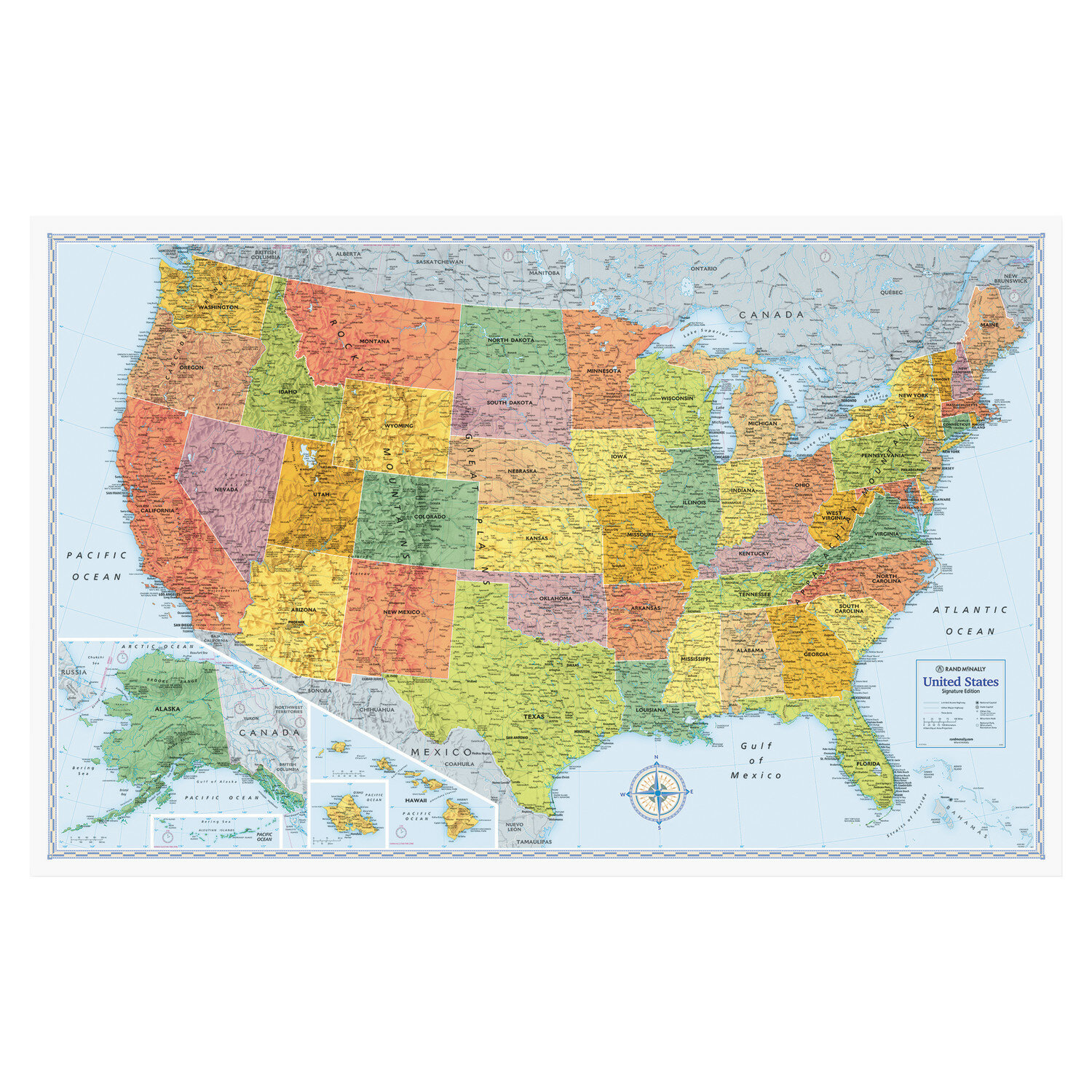 Rand Mcnally M-Series Full-Color Laminated United States Wall Map, 50 X 32