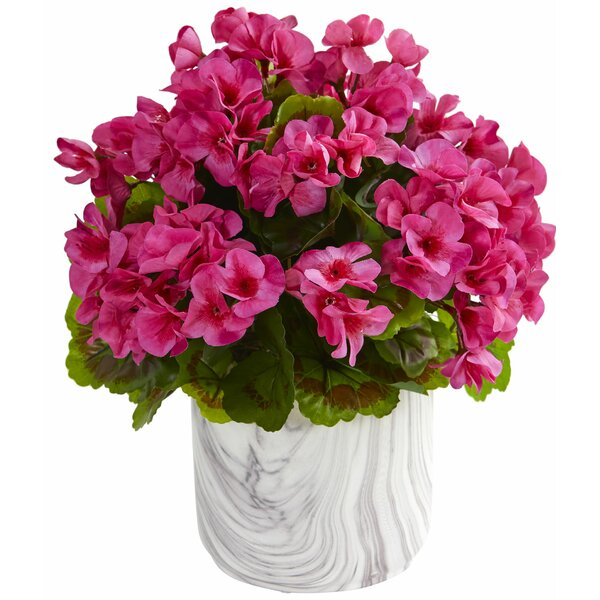 Artificial Geranium Centerpiece in Vase by Highland Dunes
