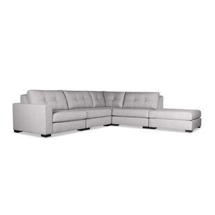 Brose Buttoned Modular Sectional with Ottoman