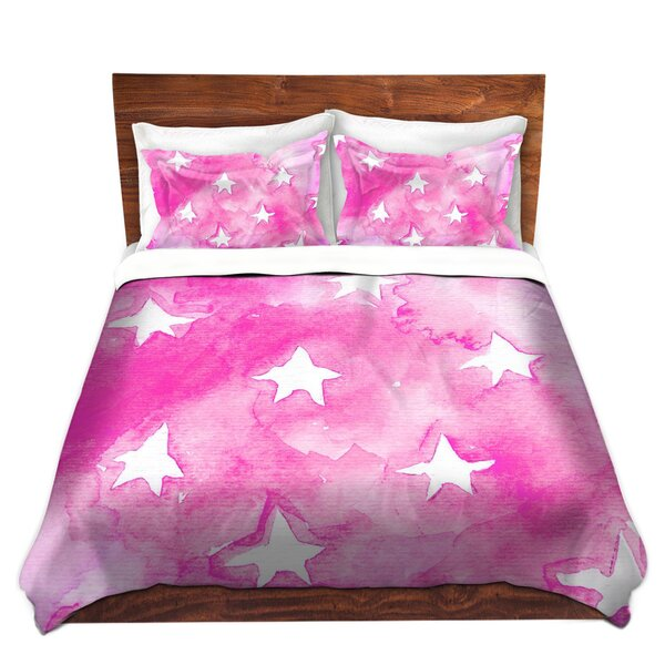 Pimental Marley Ungaro Artsy Pink Stars Microfiber Duvet Covers by World Menagerie