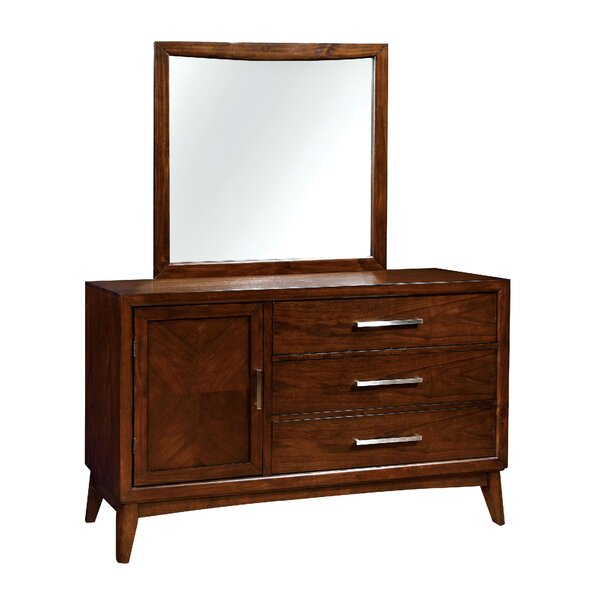 Palmquist 3 Drawer Combo Dresser with Mirror by George Oliver