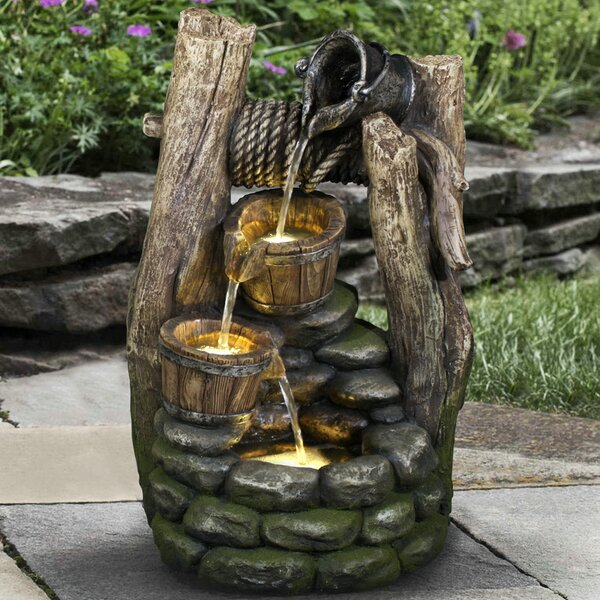 Polyresin Well 2 Pouring Pails Fountain with LED Light by Hi-Line Gift Ltd.