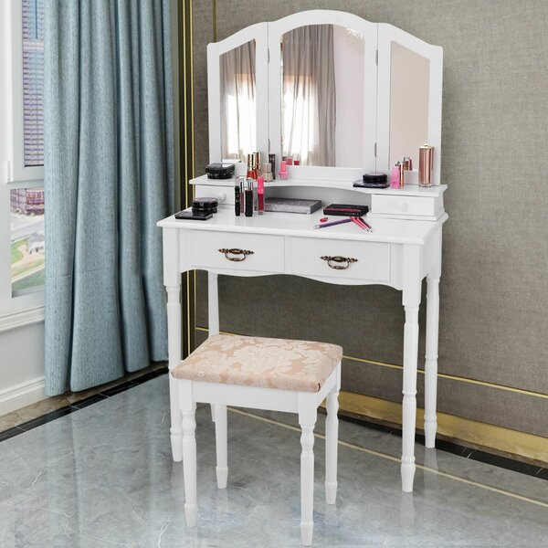 Django Vanity Set with Stool and Mirror by House of Hampton House of Hampton