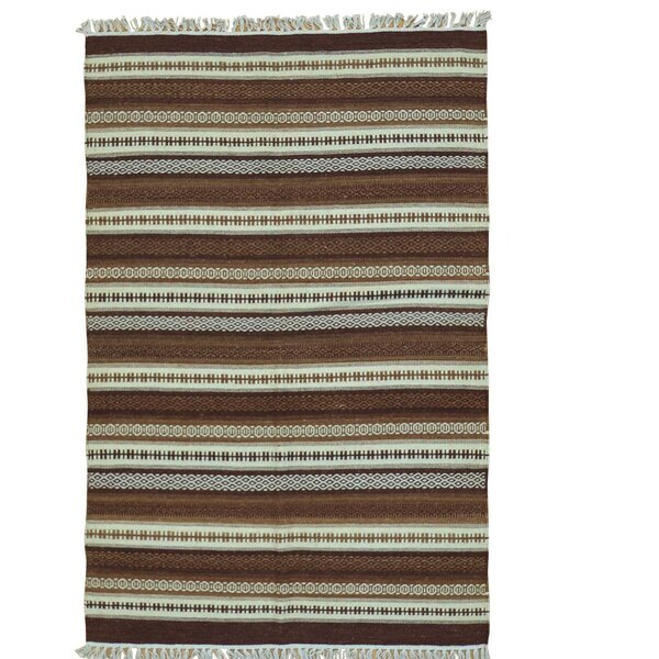 Shades Of Brown Kilim Hand-Knotted Beige/Brown Area Rug by Bloomsbury Market