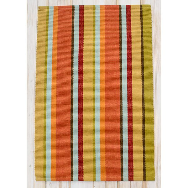 Sunset Fiesta Hand-Woven Cotton Gold Area Rug by CLM