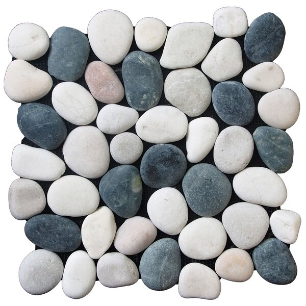 Classic Random Sized Natural Stone Pebble Tile in Black/White by Pebble Tile