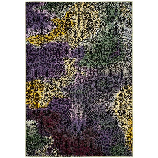 Chris Yellow/Green Area Rug by Ebern Designs