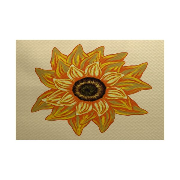 Stone Mountain El Girasol Feliz Flower Print Yellow Indoor/Outdoor Area Rug by August Grove