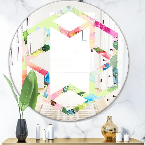 Floral Botanical IV Hexagon Star Cottage Americana Frameless Wall Mirror