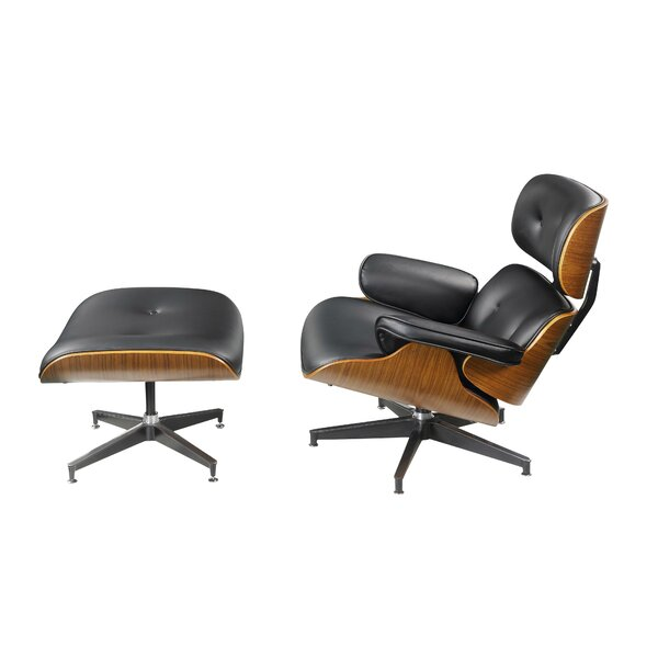 Hillyard Tufted Leatherette Wooden Swivel Armchair and Ottoman (Set of 2) by Wrought Studio Wrought Studio