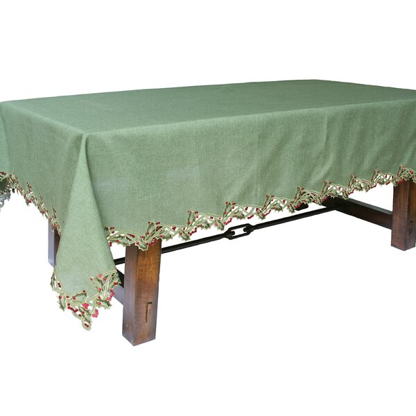 Holiday Holly Embroidered Cutwork Tablecloth by The Holiday Aisle