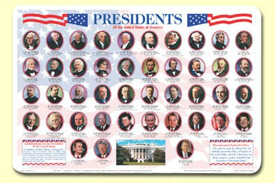 Presidents Placemat (Set of 4) by Painless Learning Placemats