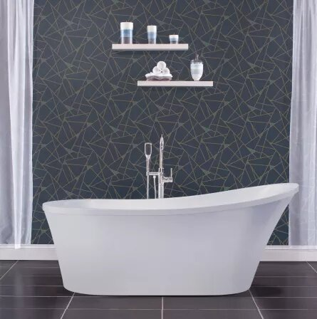 70 x 30.25 Freestanding Soaking Bathtub with Slipper Back by Miseno