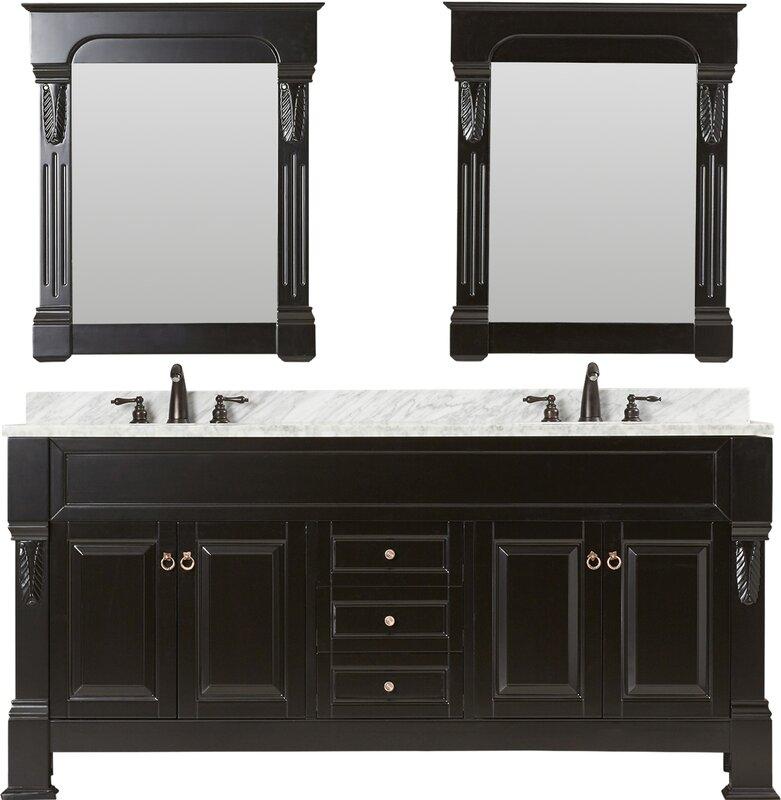 """Corte 72"""" Double Bathroom Vanity Set with Mirror"""