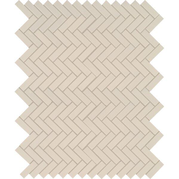 Domino Herringbone Mesh Mounted Porcelain Mosaic Tile in Almond by MSI
