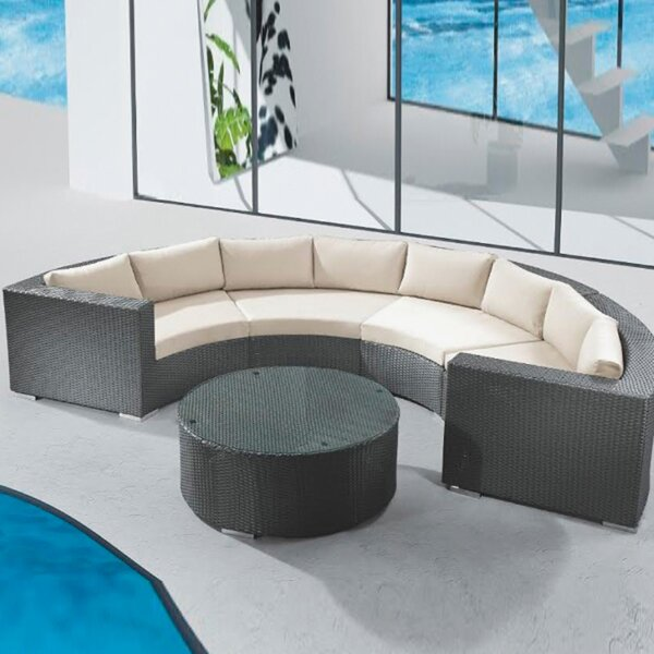 Round Right Arm Facing Patio Chair with Sunbrella Cushions by Feruci
