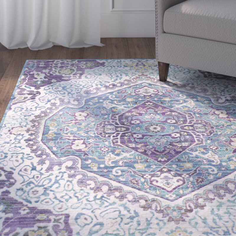 Fields Bright Purplepale Blue Area Rug Joss Main