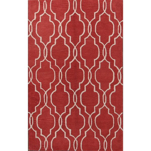 Valeria Moroccan Trellis Oriental Hand-Tufted Wool Red/Burgundy Area Rug by Charlton Home