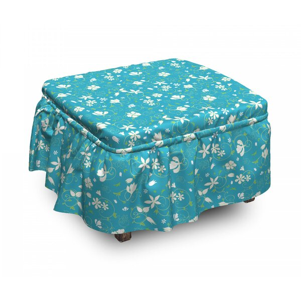 Swirled Stalks Foliage Ottoman Slipcover (Set Of 2) By East Urban Home
