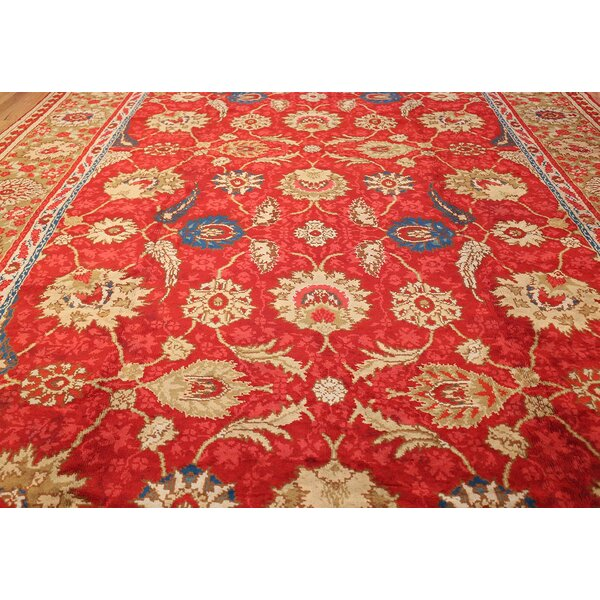 One-of-a-Kind Irish Hand-Knotted 1900s Red 11' x 17'9 Wool Area Rug