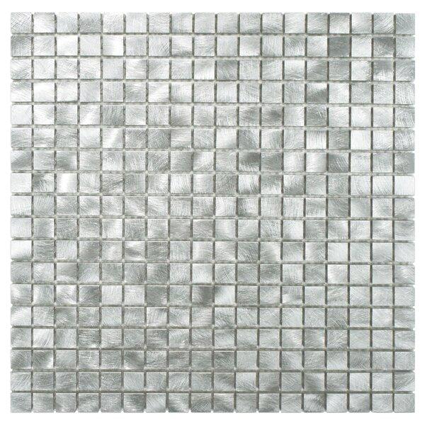 Alundum Mini 0.56 x 0.56 Aluminum Mosaic Tile in Palladium Silver by EliteTile