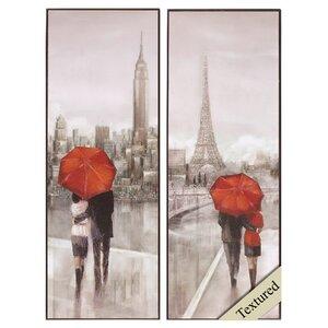 New York Paris 2 Piece Framed Graphic Art Set by Red Barrel Studio