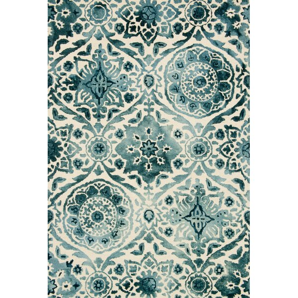 Kirsch Hand-Hooked Indigo Area Rug by Charlton Home