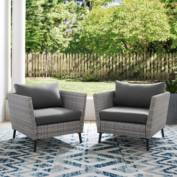 Theodora Patio Chair with Cushions (Set of 2) by Orren Ellis