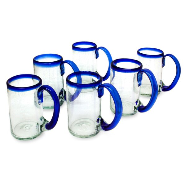 Artisan Crafted Hand Blown Mexican Recycled Glass 16 oz. Beer Mug Glasses (Set of 6) by Novica