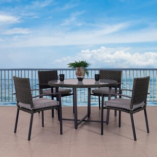 Darcella Wide 5 Piece Dining Set with Cushions By Highland Dunes