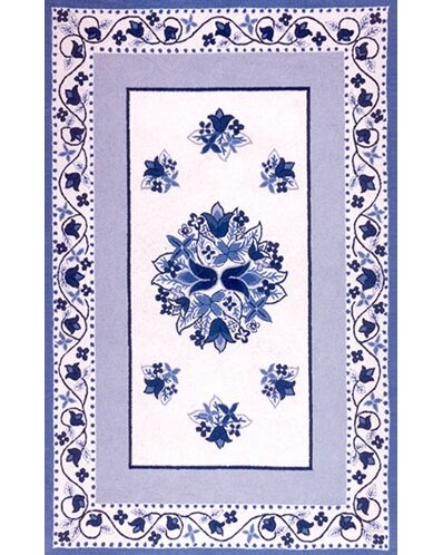 Bucks County Tulip Ivory/China Blue Area Rug by American Home Rug Co.
