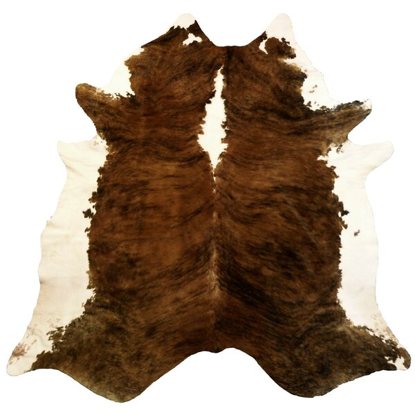 Extra Large Brindle Brazilian Cowhide Brown & White Area Rug by Chesterfield Leather