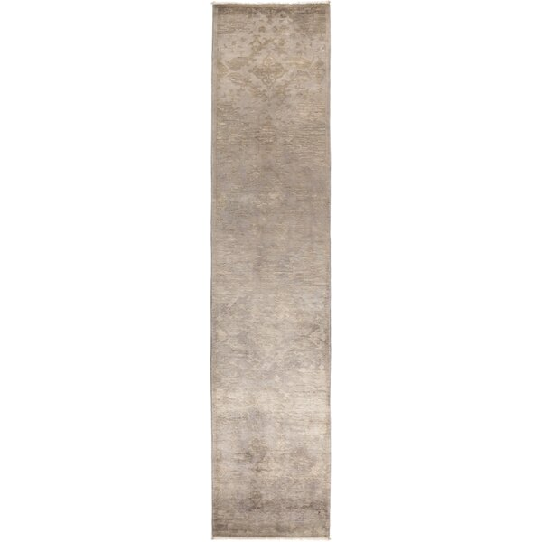 One-of-a-Kind Courter Hand Knotted Wool Gray Area Rug by Bungalow Rose
