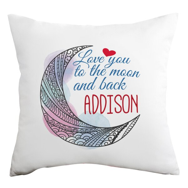 Personalized Love You to the Moon and Back Decorative Cushion Cover by Monogramonline Inc.