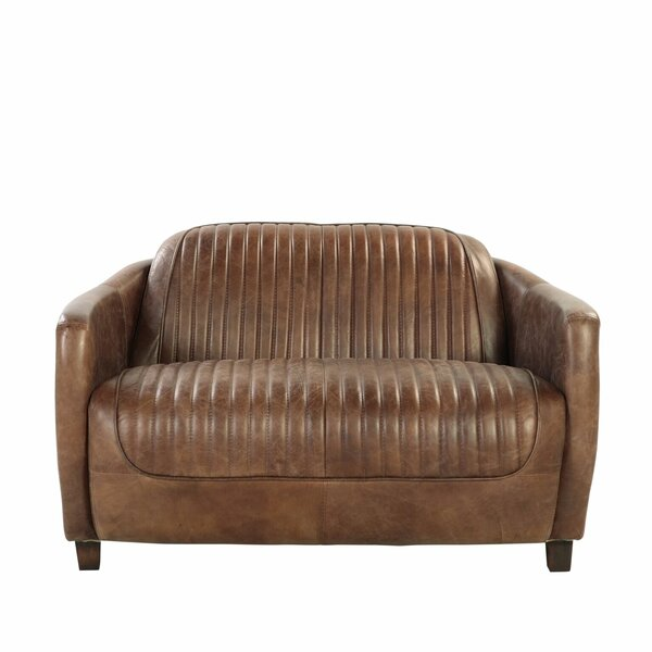 Zander Leather Loveseat by 17 Stories