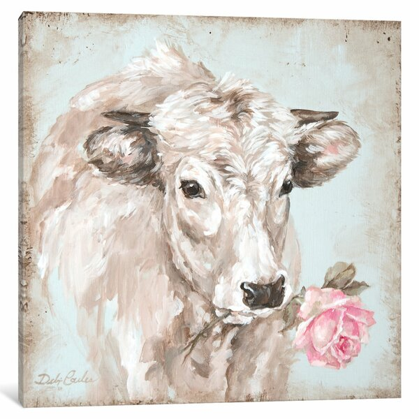 French Farmhouse Series: Cow with Rose II Painting Print on Wrapped Canvas by Laurel Foundry Modern Farmhouse